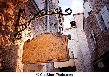 rústico, de madera, entrada, viejo, tabla