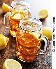 rústico, doce, sulista, chá, jarro