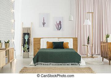 rústico, dormitorio, con, de madera, muebles
