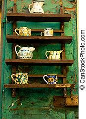 rústico, exhibición, cerámica