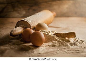 rústico, farinha, ovos, assando, sifted
