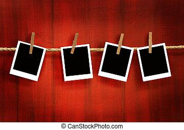 rústico, fotos, madera, plano de fondo, marcos, rojo