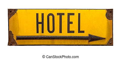 rústico, hotel, metal, isolado, sinal
