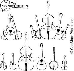 rústico, instrumentos, estilo, musical