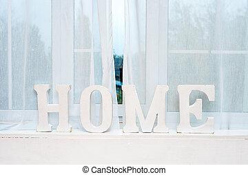 rústico, interior, decor., palabra, hogar, en, windowsill.