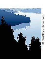 rústico, lago, norte