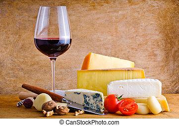 rústico, lanche, com, queijo, e, vinho