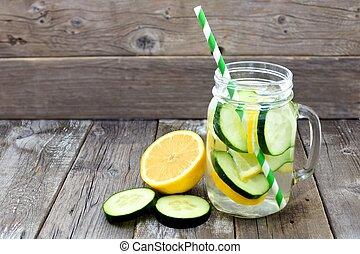 rústico, limón, Rebanadas, paja, tarro, contra, albañil, agua, vidrio, madera, pepino, Plano de fondo,  detox