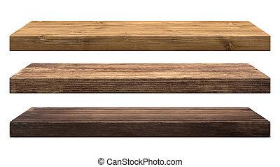 rústico, madeira, prateleiras
