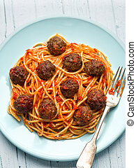 rústico, norteamericano, Espaguetis, albóndiga, italiano