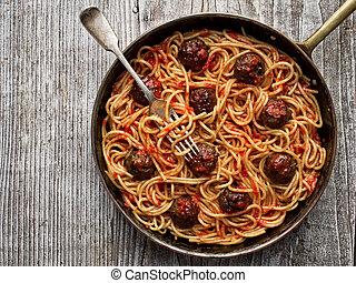 rústico, norteamericano, italiano, albóndiga, espaguetis