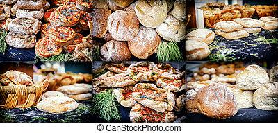 rústico, panificadora, colagem, com, freshly, pão assado