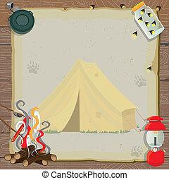 rústico, partido, acampamento, convite