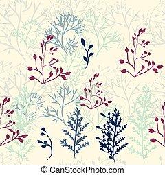 rústico, patrón, vector, florals, y, branches.eps