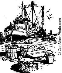 rústico, pesca, barco