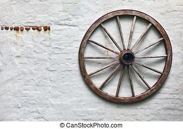 rústico, roda vagão, pendurar, um, parede