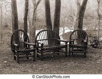 rústico, sillas, césped