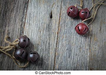 rústico, sinos natal, e, madeira, fundo