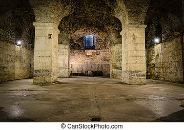 rústico, subterrâneo, sala