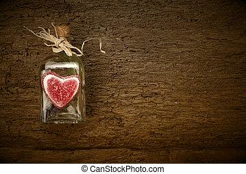 rústico,  valentines, Dia, fundo, cartão