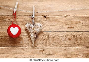 rústico, valentines, romántico, saludo