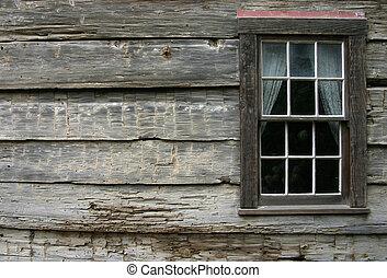 rústico, ventana, 2
