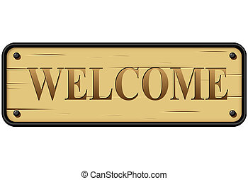 rústico, vetorial, sinal bem-vindo