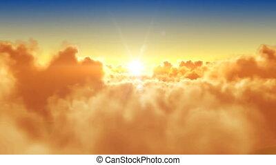 rüber fliegen, der, wolkenhimmel, mit, der, sonne