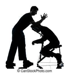 rückenmassage, therapie, mit, stuhl, silhouette