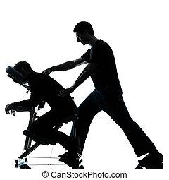 rückenmassage, therapie, mit, stuhl