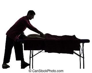 rückenmassage, therapie, silhouette