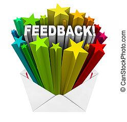 rückkopplung, sternen, brief, briefkuvert, bewertung, kritik