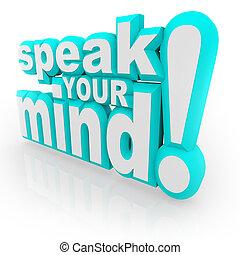 rückkopplung, verstand, ermutigen, wörter, 3d, dein, sprechen