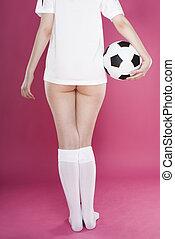 rückseite, fußball, woman\'s