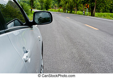 rückseite, seite, perspektive, ansicht, von, auto, auf, straße, landschaft