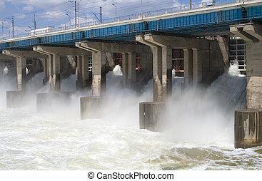rücksetzen, macht, hydroelektrisch, wasser, station, fluß