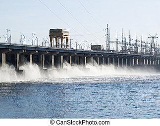 rücksetzen, macht, wasser, station, fluß, hidroelectric