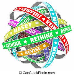 rücksetzen, rethink, abbildung, reimagine, wörter,...