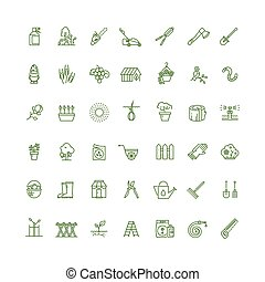 rügyezés, szemesedik, és, otthon, kertészkedés, híg, áttekintés, vektor, ikonok