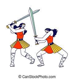 rüstung, kämpfen, weibliche , griechischer , krieger, tragen, training, personages, swords., charaktere, waffe, frauen, amazonen