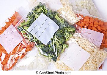 rąbany, ser, warzywa, zamrażarka, mnóstwo