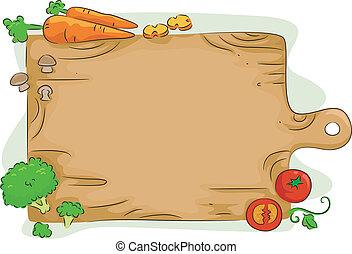 rąbiąca deska, z, warzywa, tło