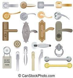 rączka, wejście, komplet, drzwi, tło, door-handle, lok, wektor, gałka do otwierania drzwi, odizolowany, ilustracja, wewnętrzny, metal, projektować, drzwi, dom, door-knob, dom, biały