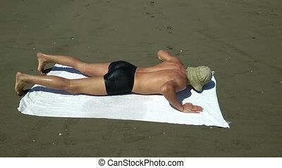 ręcznik, nic, spadanie, plaża, sam, piaszczysty, człowiek