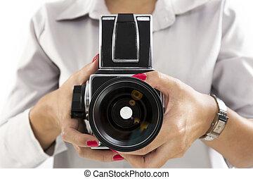 ręka, środek, aparat fotograficzny, dzierżawa, format