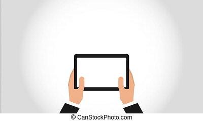 ręka dalejże, urządzenie, projektować, video, ożywienie