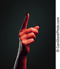 ręka, demon, spoinowanie, zwyżkowy