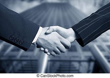 ręka, handlowy, potrząsanie