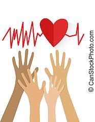 ręka, i, 3d, czerwone serce, cardiogram., vector.