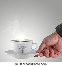 ręka, i, niejaki, filiżanka kawowa, z, lekka bulwa, rysunek, jak, pojęcie